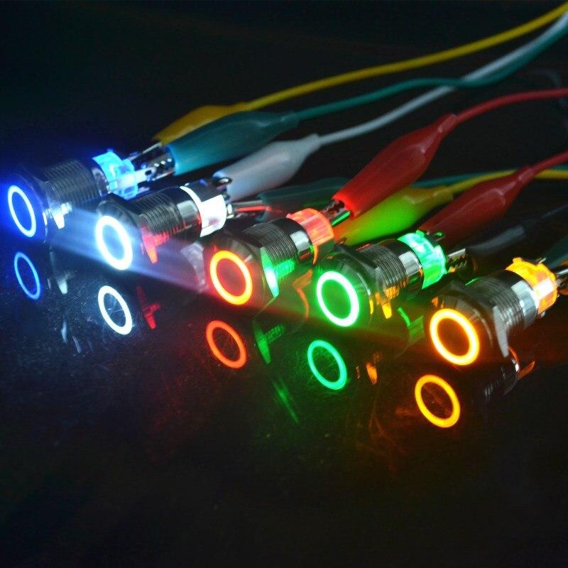 Ojo de Ángel Metal LED iluminado momentáneo 16mm botón interruptor coche tablero interruptor de metal