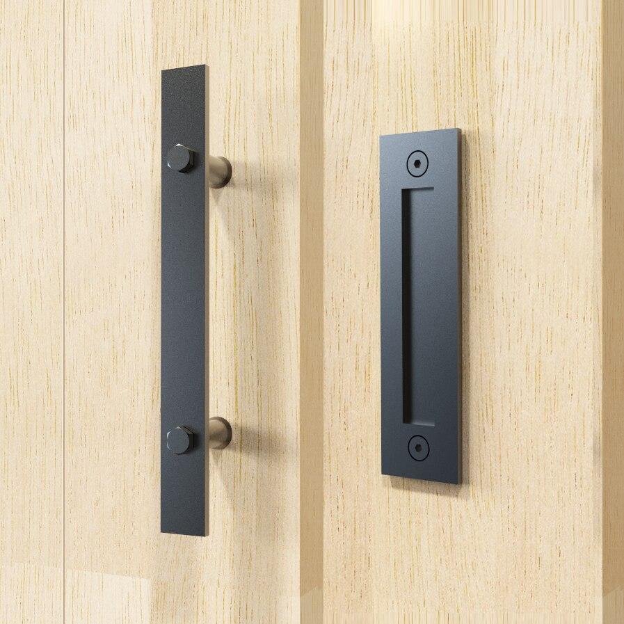 DIYHD-قضيب مسطح من الفولاذ المقاوم للصدأ مقاس 12 بوصة ، مقبض باب أسود ناعم من جانبين