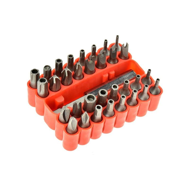 33pcs CR-V Screwdriver Tamper Proof Security Bits Set with Magnetic Extension Bit Holder Torx Hex Star Spanner woodworking Tools