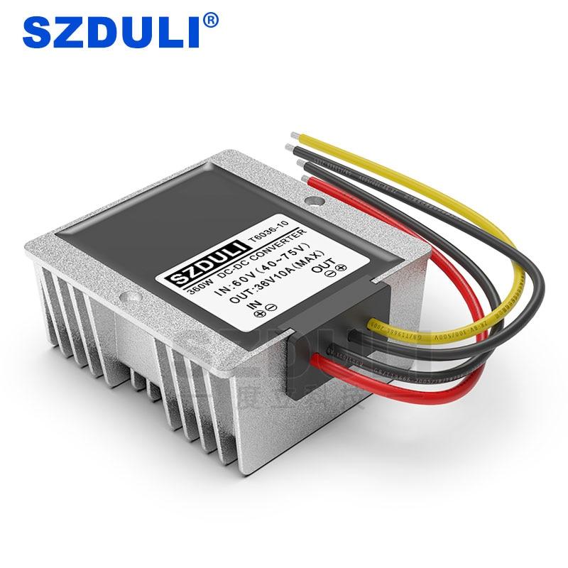 Convertidor de potencia reductor de 60V a 36V 10A CC 40 ~ 75V a 36V fuente de alimentación del vehículo step-down CE RoHS a prueba de agua