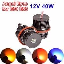 Hippcron 2*20W 40W светодиодные габаритные огни «глаза ангела» Bridgelux светодиодные чипы белого/Красного/синего/желтого цвета для E39 E87 E65 E64 E63 E61 E60 E53