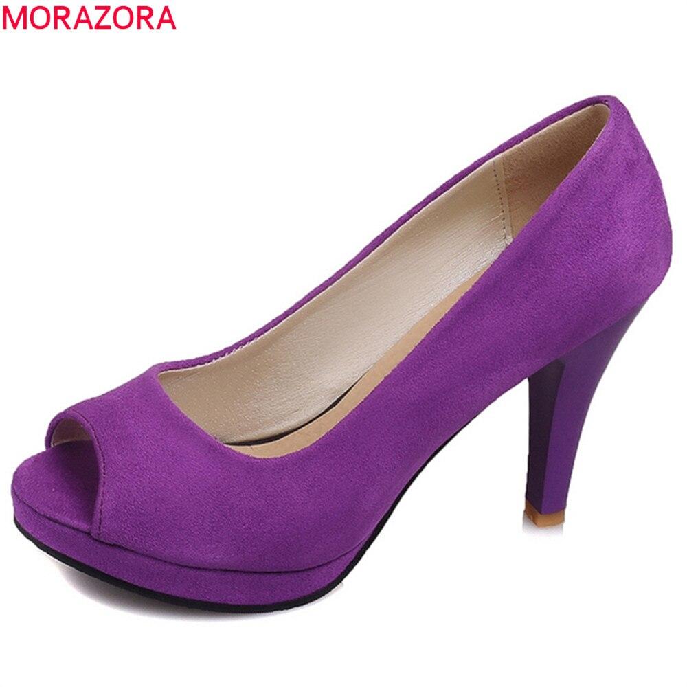 Morazora 2020 nova chegada sapatos plataforma peep toe deslizamento em rasa extremo salto alto rebanho elegante casual bombas femininas