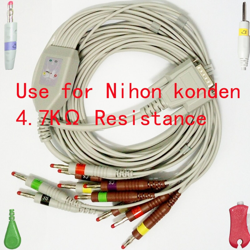 Compatible with DB15M Nihon Kohden,Fukuda Cardisuny the ECG/EKG 10 lead 4.0mm banana plug cable IEC have 4.7K resistance