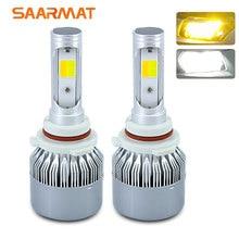 Ampoule en bois à deux couleurs 6000K blanc   3000K ambre 11400LM, ampoules en bois à motifs H4 9003 HB2 H7 H8 H9 H11 H16(JP) 9005 HB3 H10 9006 HB4 9012