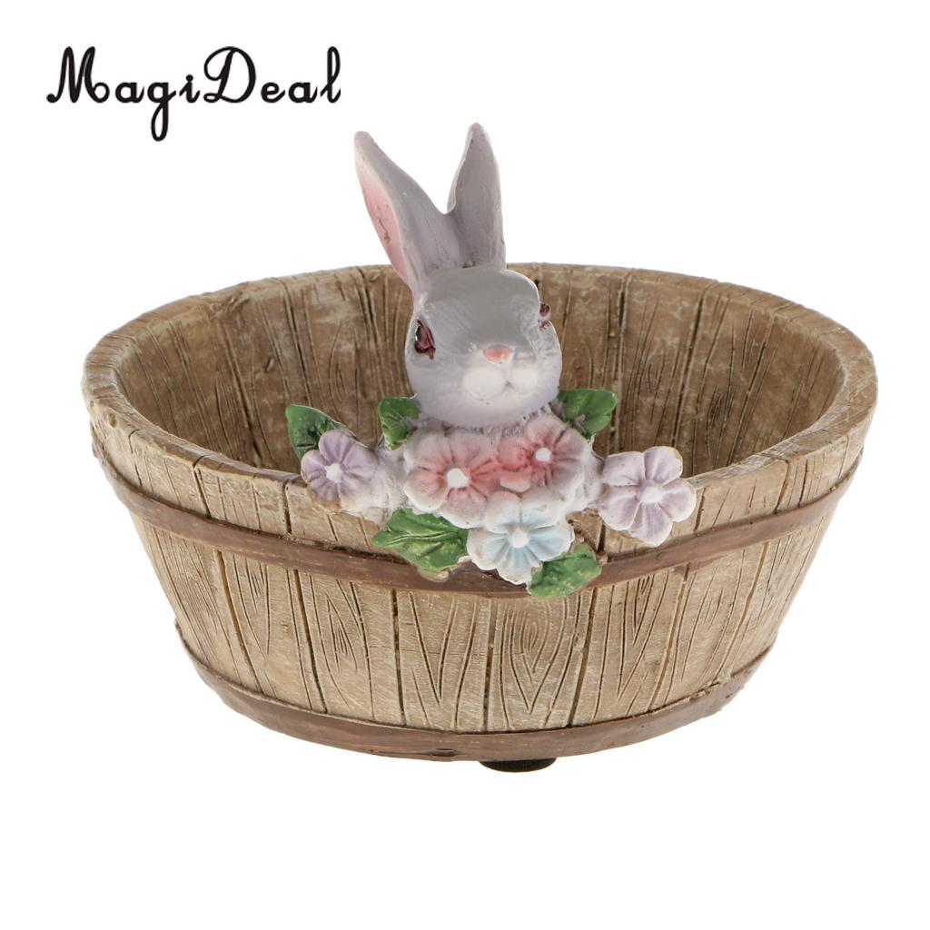 Maceta MagiDeal con forma de conejo, libro decoración Vintage para el hogar, maceta para flores, maceta de Sedum, jardinera para bonsái, lecho de planta, regalo