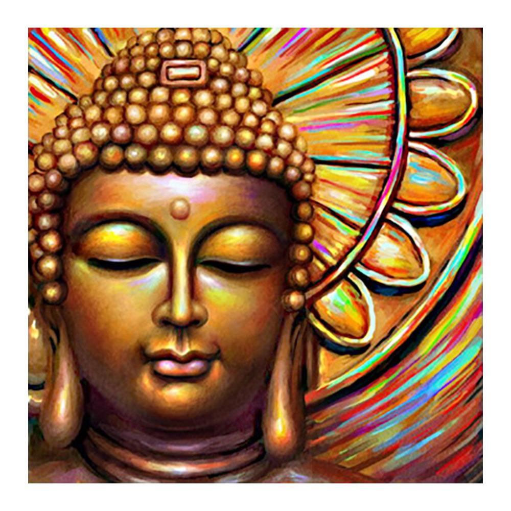 Estatua de Buda pintura de diamante religión retrato taladro completo redondo Nouveaute DIY mosaico bordado 5D punto de cruz decoración del hogar