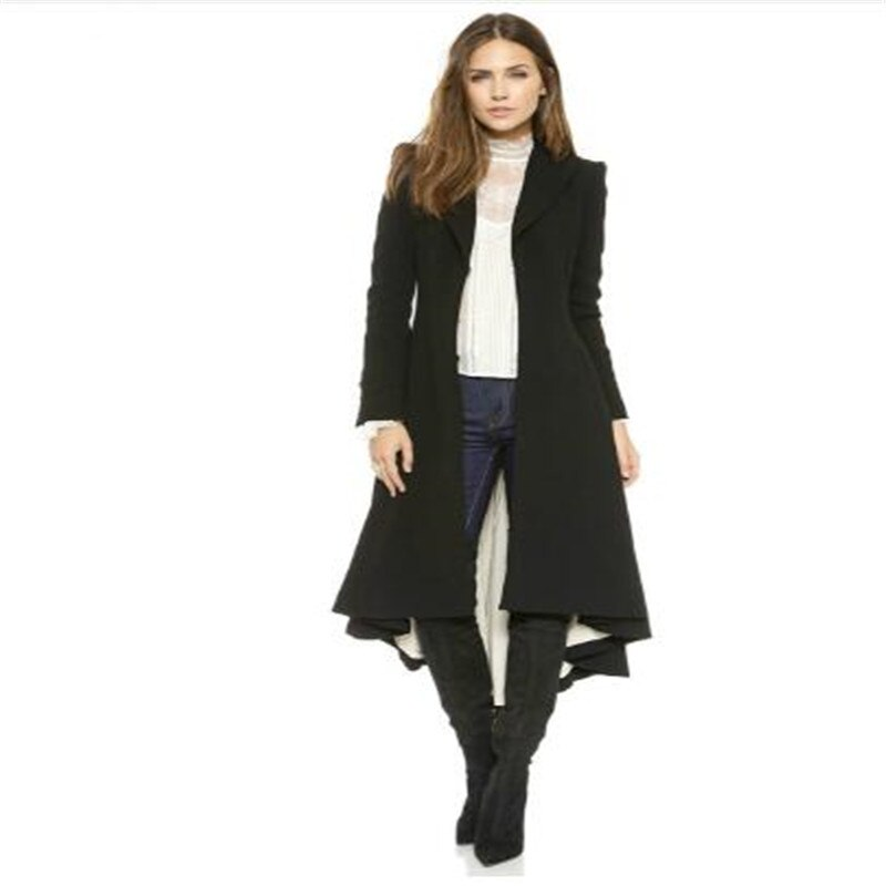 Otoño Invierno mujeres cola de golondrina de lana largo negro Trench Dovetail Slim Blazer vestido 4XL 5XL de talla grande Goth Trench prendas de vestir