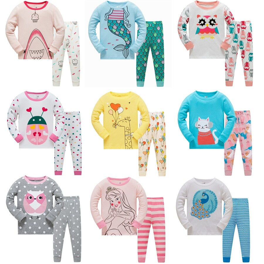 fashion striped kids girls clothing sets summer newborn baby girls clothes cotton tops pant children clothes suits 1 5 years Animal Baby Girls Pajamas Suits 3 4 5 6 7 8 years Children Clothes Sets Girl Clothes sets T-Shirts Pant Sleepwear 100% Cotton