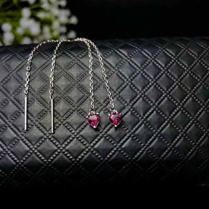 SHILOVEM 925 sterling silver Natural magnalium garnet stud earrings fine Jewelry women wedding 4*4mm wholesale be040404agsm