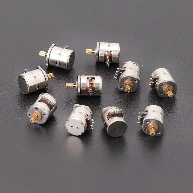 10 Uds 3-5v Dc 2 fases 4 Cable Dia 8mm Dc Motor paso a paso Micro Motor paso a paso para productos digitales Cámara tamaño 8*9,5mm