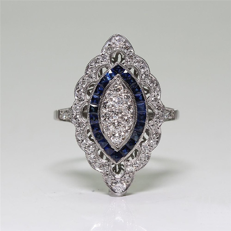 Anillos de piedras azules para Mujer, joyería de lujo, anillo de compromiso de boda, anillo de diamantes de imitación de Color plateado, Anillos de Mujer S5Q574