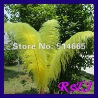 wholesale 20pcs quality natural ostrich feathers 26 28inch 65 70cm yellow ostrich feather ems free shipping