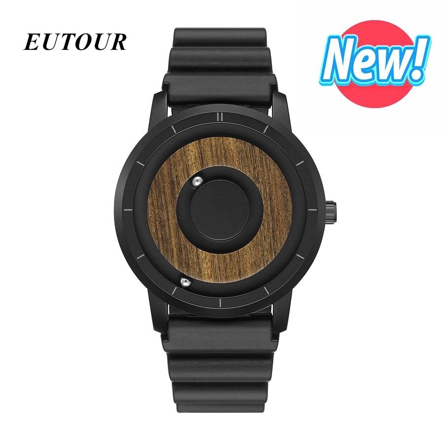 Mais novo eutour minimalista madeira dial scaleless relógio magnético masculino casal luxo relógio esporte à prova dwaterproof água relógios de quartzo masculino 2019