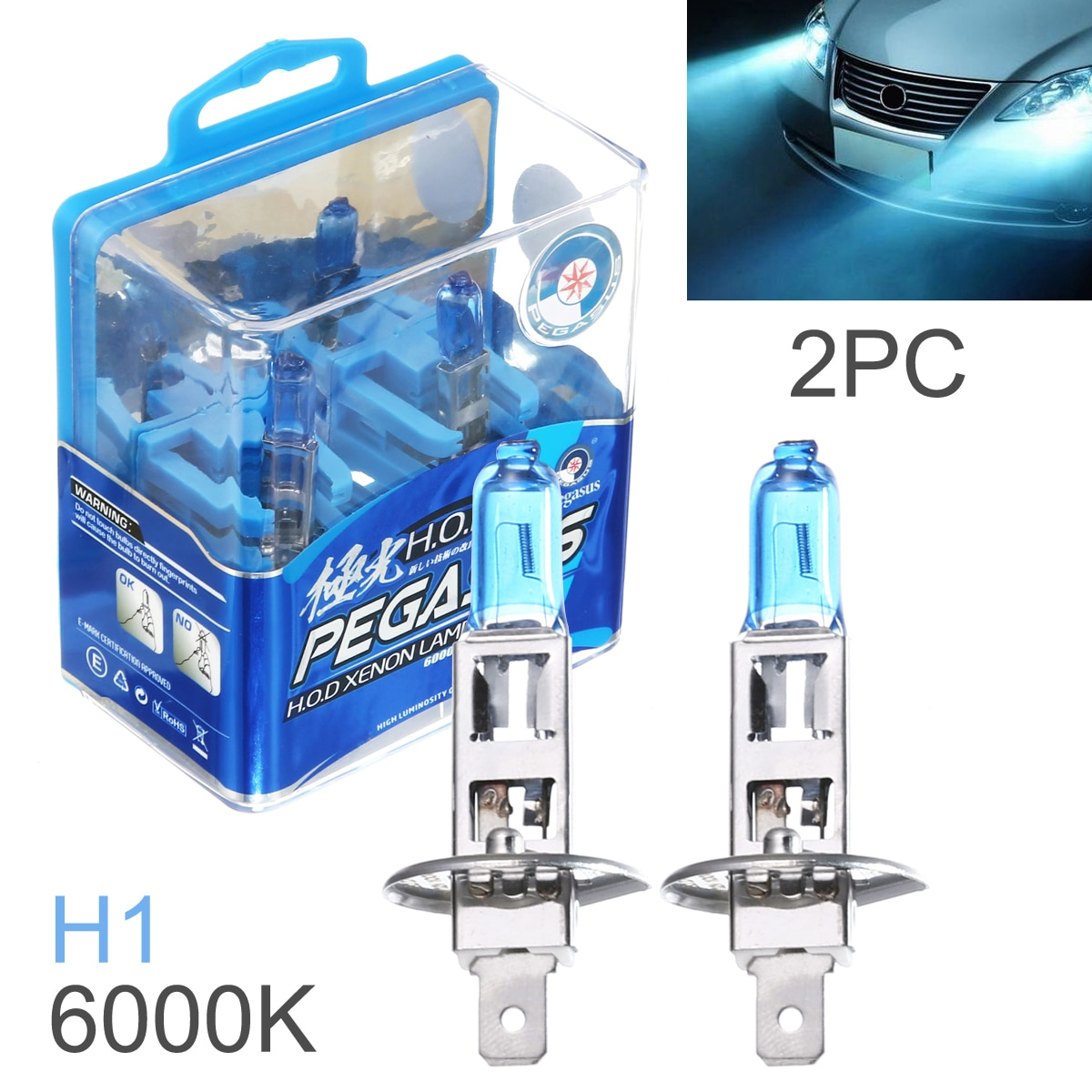 2 шт. Универсальный H1 H3 100 Вт 6000 К белый светильник супер яркий автомобильный HOD галогенная лампа авто передний головной светильник противотуманная фара подходит для автомобилей