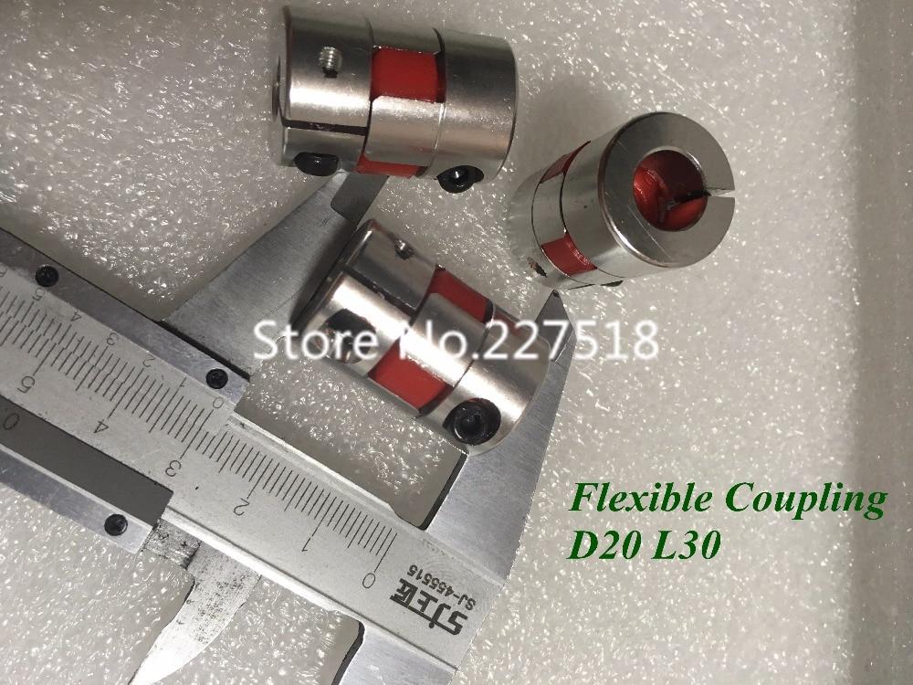 4 unids/lote 6,35X10mm Flexible acoplamiento del eje D20 L30 de aluminio de Motor acoplamiento 6,35mm a 10mm acoplador CNC parte