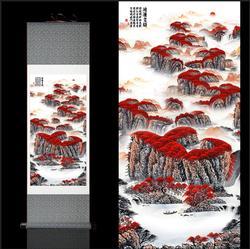 # S032 famoso chinês pintura rolos de caligrafia de seda pintura flor pássaro pinturas belas flores de pêssego no início da primavera