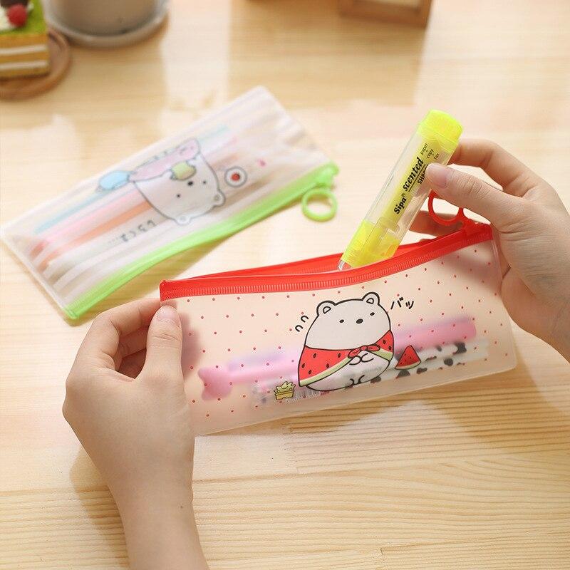 Al por mayor 20 piezas Kawaii bolsas de lápiz lindo conejo transparente bolsa de lápiz bolsa para la Oficina de la escuela japonés bolsas de archivo de papelería