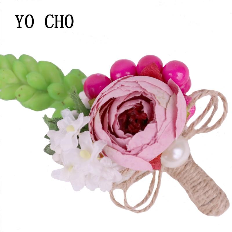 YO CHO cuerda de cáñamo de entierra suculentas de seda Rosa Boutonniere de rosas ramillete fiesta nupcial broche para novio decoración del banquete de boda