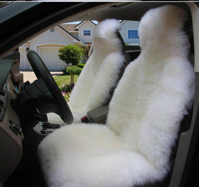 Cubierta de asiento de coche de piel cálida de lana Natural australiana para Toyota Honda Mazda Hyundai Nissan Lada VW Ford cubierta de asiento de piel de oveja