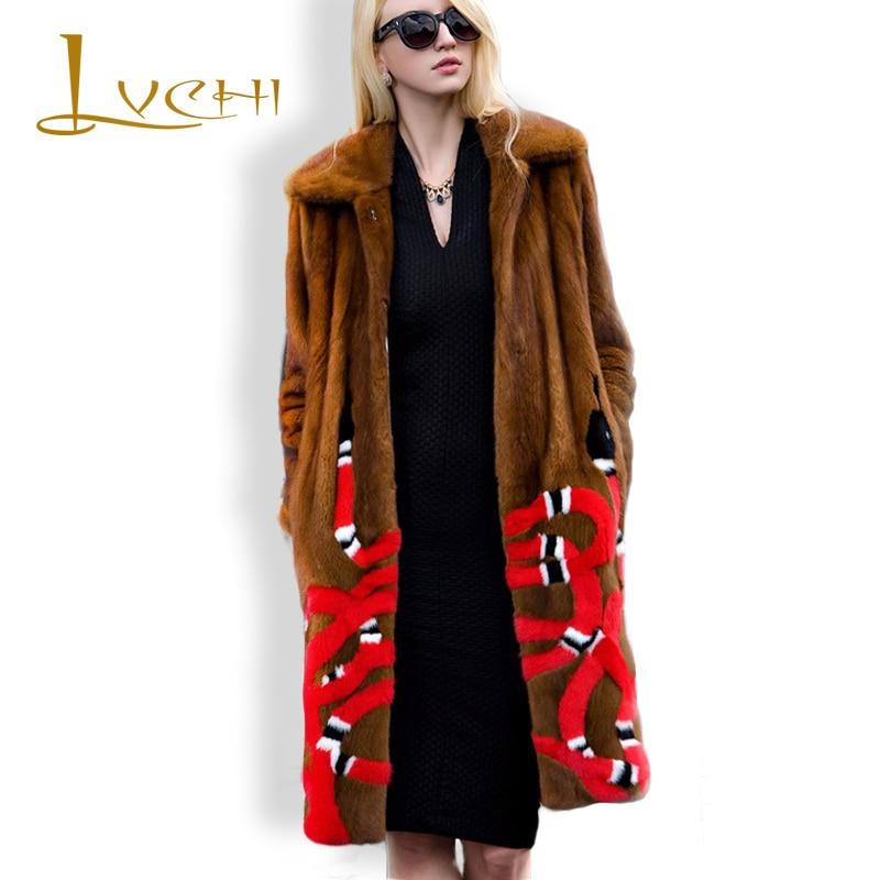 LVCHI mink coat Coral snakes Russia classic mink  Wholesale Natural fur coats vintage fur Warm mink fur coat noble Jackets women