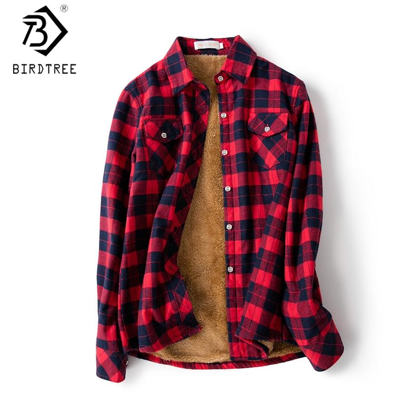 Velvet Thick Warm Women's Plaid Shirt Female Long Sleeve Tops M-XXL Winter Fleece Casual Check Blouse Autumn Clothes T77710A