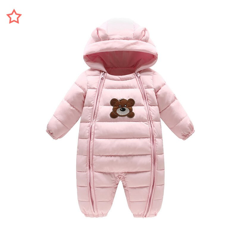 Winter Baby Rompers Thicken Warm Down Girls Boys Hooded Jumpsuit Newborn Outwear Coat Infant Embroidery Snowsuit Baby clothes