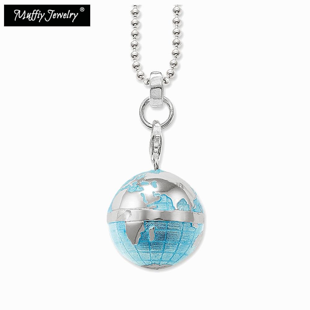 Bleu Globe pendentif collier, Thomas Style à la mode pop-corn chaîne européenne TS mode cadeau bijoux en argent Sterling 925 pour les femmes
