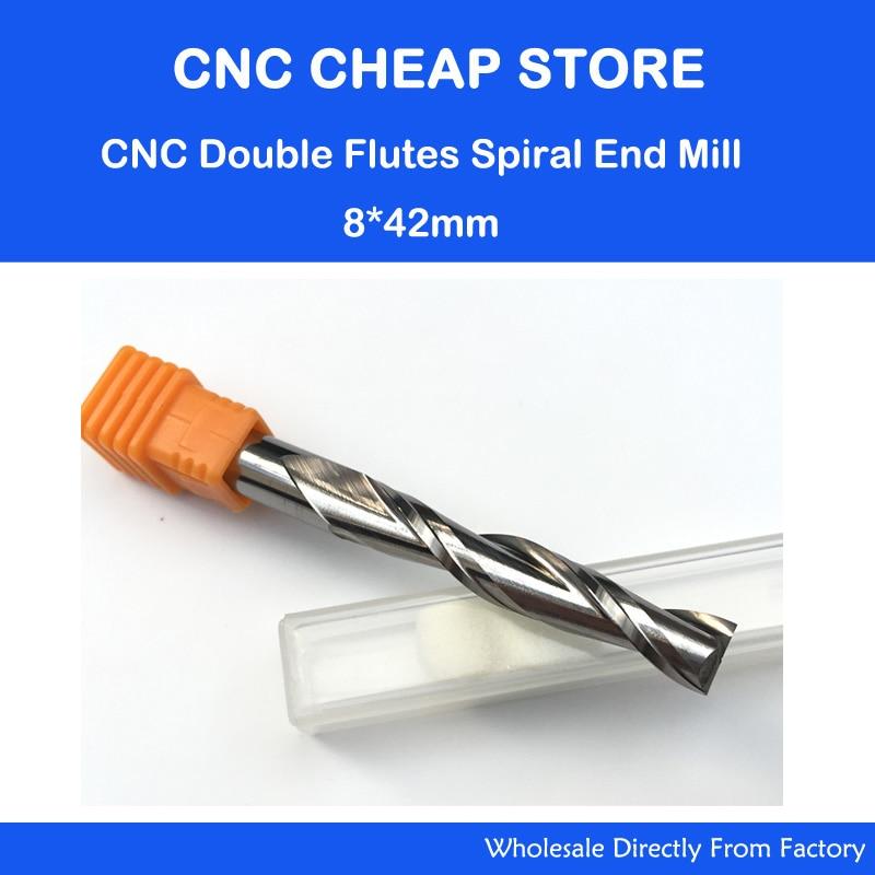 Envío gratis 1 pieza carburo sólido 8mm fresa doble dos flauta espiral Bit brocas de rebajadora de CNC CED 8mm CEL 42mm largo flauta extender más