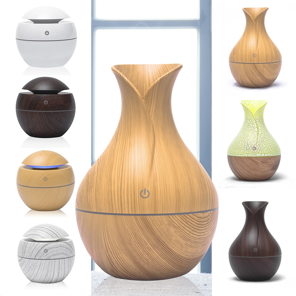 mini wooden aromatherapy humidifier aroma diffuser essential oil diffuser air purifier color changing led touch switch 130Ml Aroma Essential Oil Diffuser Mini Air Humidifier USB Ultrasonic Mist Aromatherapy Portable Air Purifier LED Night Light