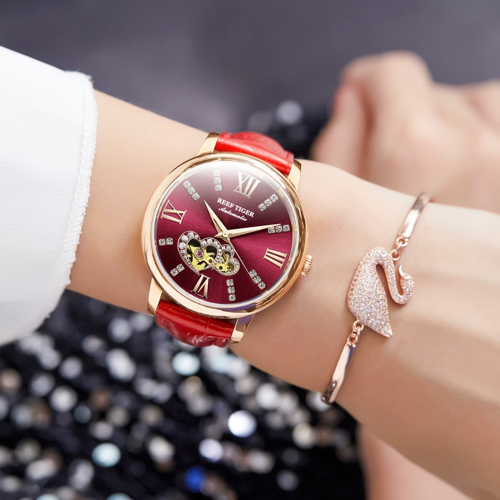 Reef Tiger/RT Top Brand Luxury Ladies Watch Rose Gold Red Automatic Fashion Watches Lover Gift Relogio Feminino RGA1580 enlarge