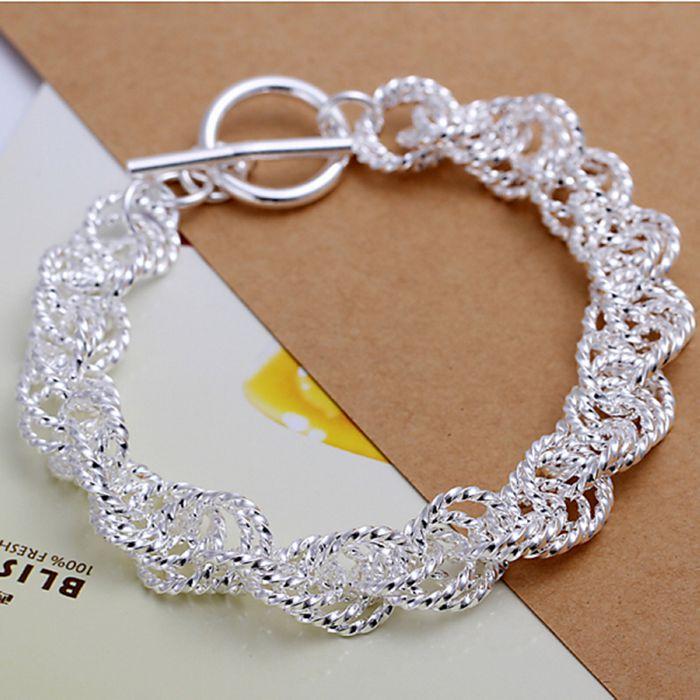 H240 silver fashion jewelry 925 jewelry silver plated bracelet Gloss Twisted Thick Bracelet /LQMPZAYB EGPKCOXJ