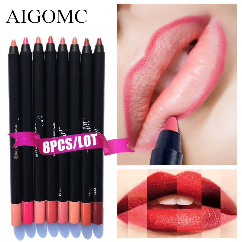 8 PCS/BOX Professional Sexy Red Lip Liner Set Pencils Waterproof Long Lasting Pigments Nude Color Brand Beauty Makeup Set Pen