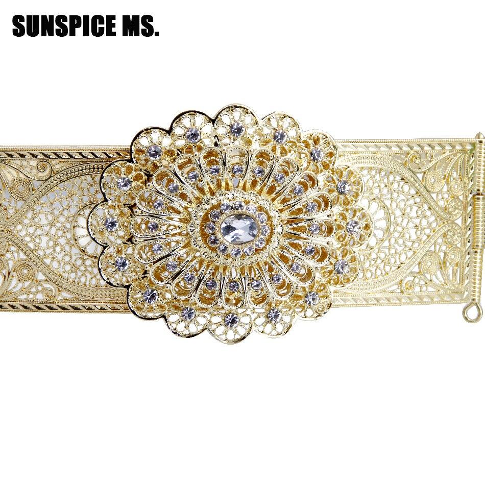 Sunspicems-حزام الزفاف للمرأة المغربية ، مجوهرات معدنية ، طول قابل للتعديل ، لون ذهبي فضي ، مجوهرات الزفاف