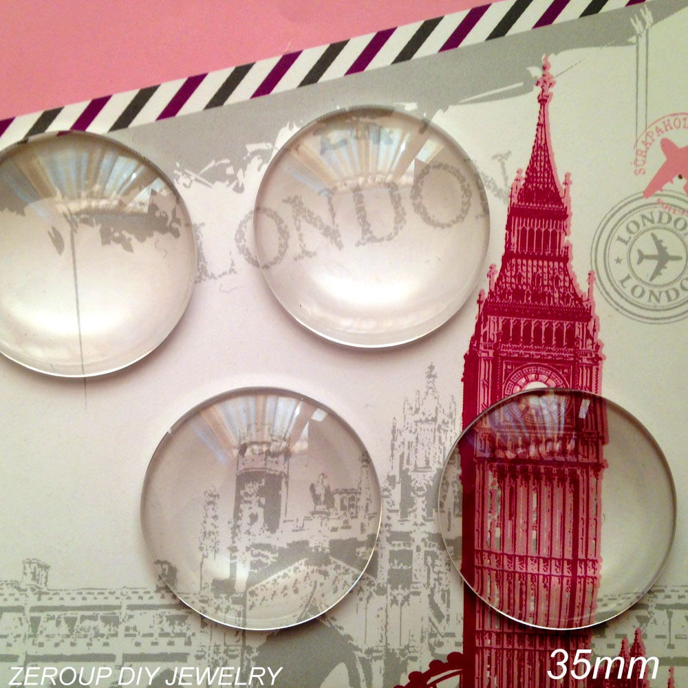 ZEROUP 5 unids/lote 35mm vidrio transparente hecho a mano cabujón con cúpula accesorios de joyería redonda
