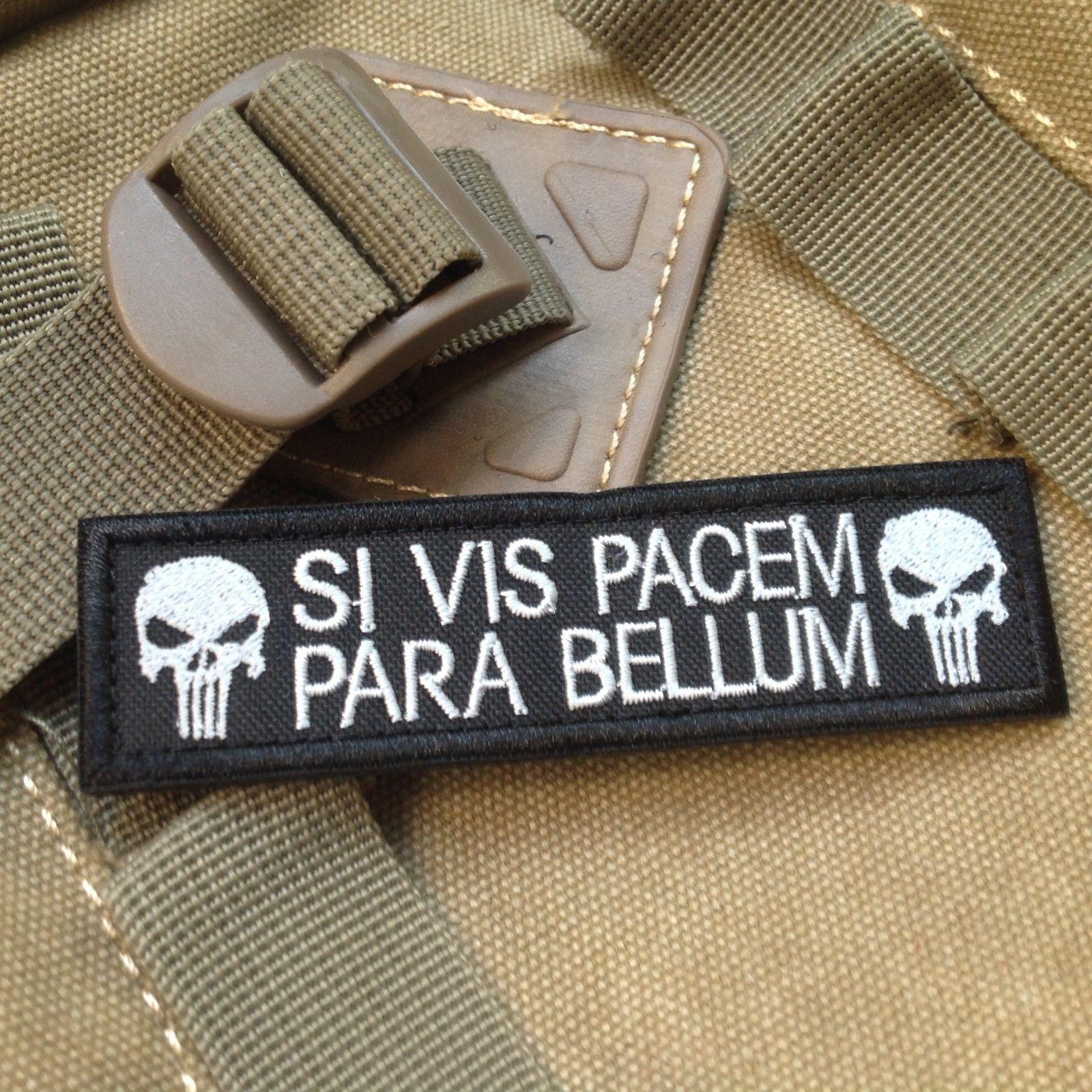 SI VIS PACEM PARA BELLUM, pegatina táctica militar 3D con bordado mágico, brazalete de gancho y bucle, pegatina militar negra