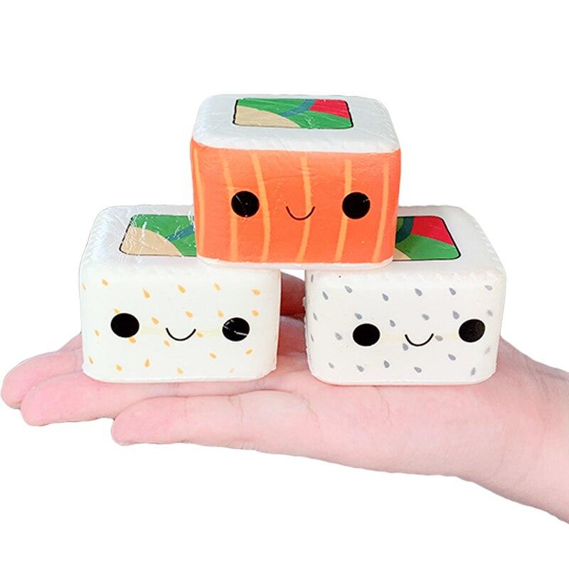 Nuevo Kawaii cuadrado japonés Sushi Squishy simulación lenta Rising Cream Scent Soft Squeeze Toy alivio del estrés diversión para chico regalo de Navidad