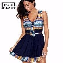 Tank Heart Vintag Floral one-piece Suits Plus Size Swimwear Women One Piece Swimsuit Girls Trikini Skirt Dress Swimdress L-5XL