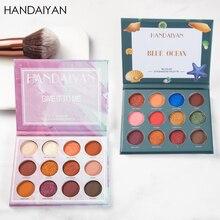 HANDAIYAN Marble Series 12 Colors Matte Eyeshadow Palette Mousse Maple Leaf Red Pearlescent Eye Shadow Makeup Kit TSLM2