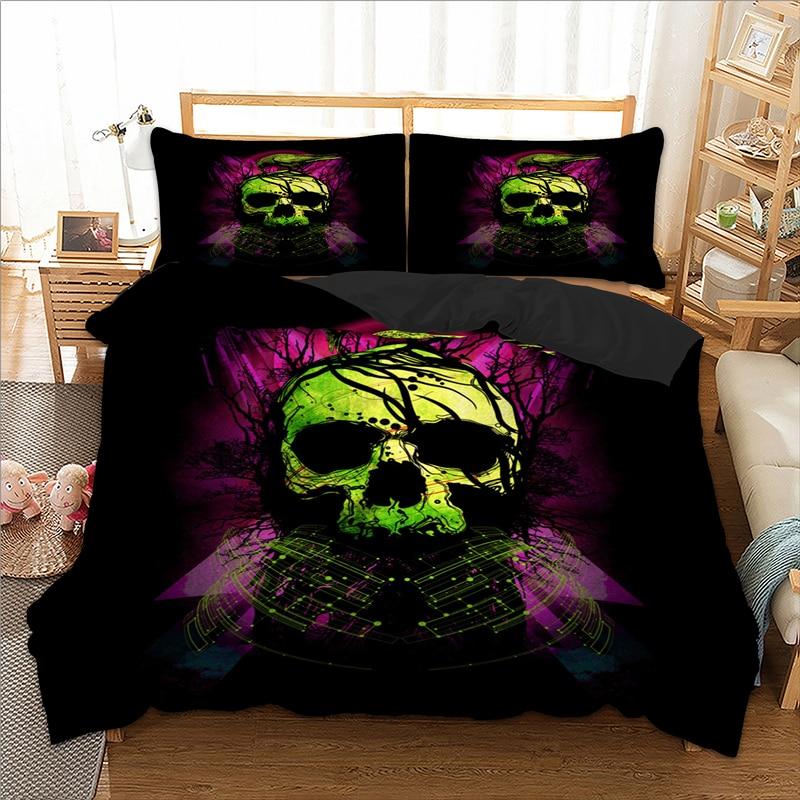 الأخضر الجمجمة الطيور حاف الغطاء التوأم كامل الملكة الملك طقم سرير