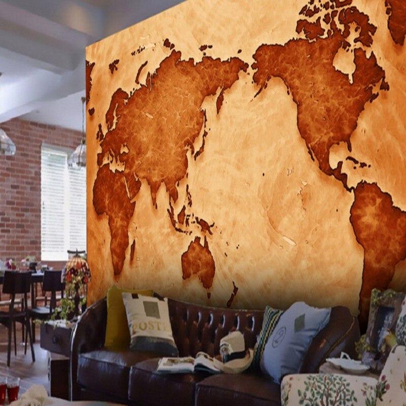 Papel tapiz 3d Retro mapa nostálgico del mundo papel tapiz 3d sala de estar estudio Hotel Fondo Murales Decorativos