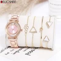 5pcset fashion luxury brand round crystal women bracelet watch rose gold quartz wristwatches ladies dress watches reloj mujer
