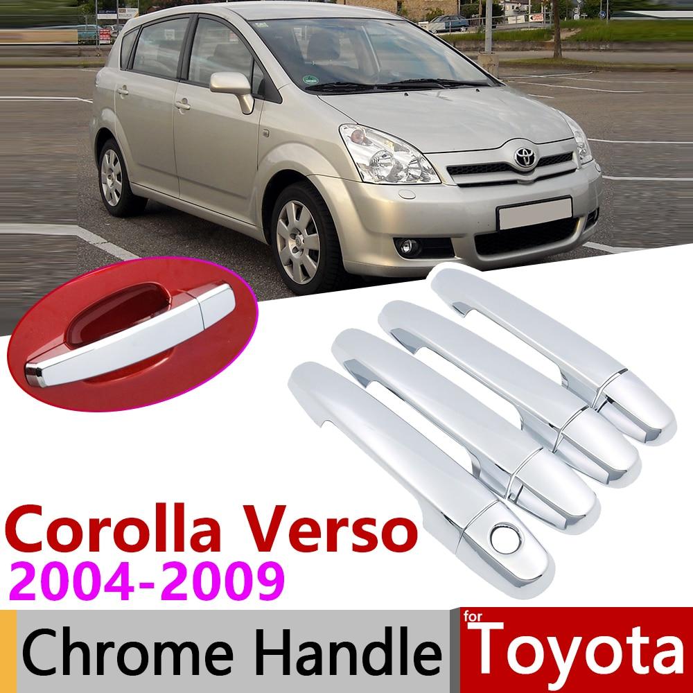 Para Toyota Corolla Verso AR10 2004 ~ 2009 Chrome Capa Maçaneta da porta Do Carro Acessórios Adesivos Guarnição Set