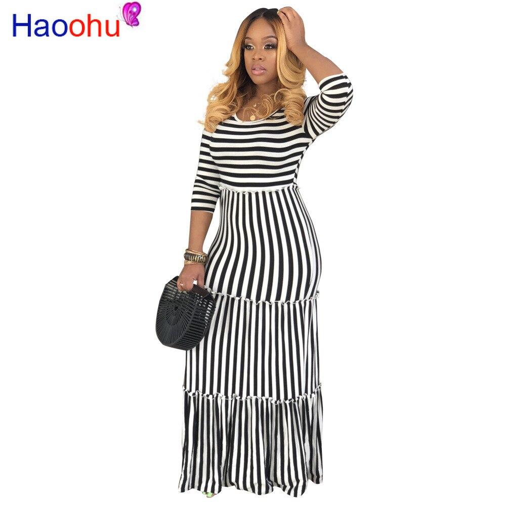 Womens Boho Long Maxi Dress Half Sleeve Striped Party Evening Summer Beach Holiday Sundress 2019 Summer Female Plus Size Dresses