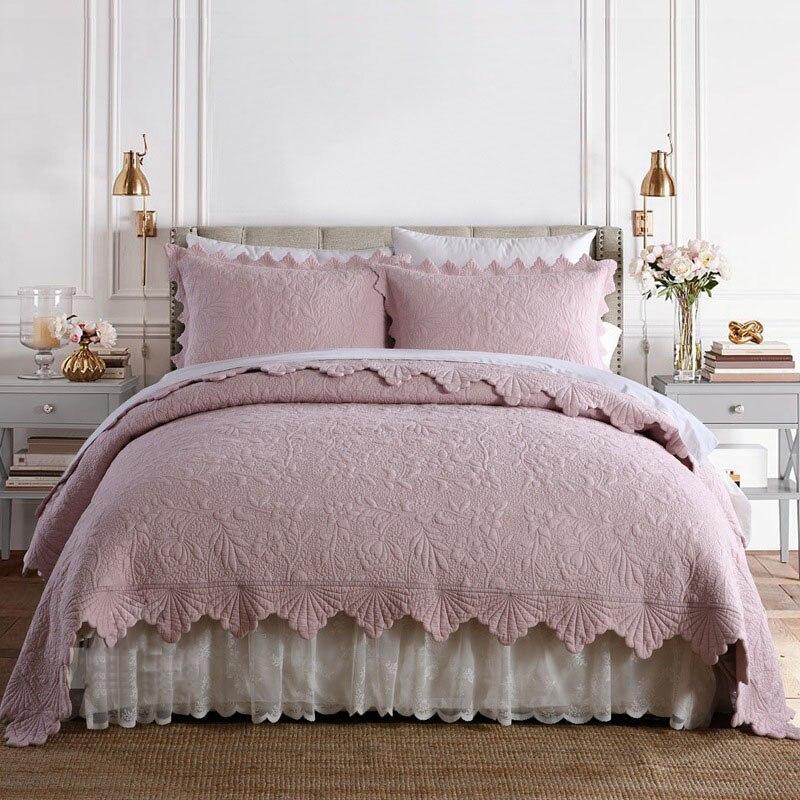 CHAUSUB المفرش على السرير لحاف 3 قطعة مجموعات عكسها المطرزة السرير غطاء 2 شمس الملك الملكة حجم بطانيات مبطن بطانية