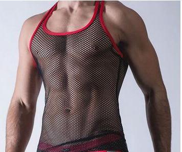 2017 nuevo chaleco de malla transparente para hombres sexi ropa interior sexi chaleco transparente camiseta sin mangas Chaleco de Fitness