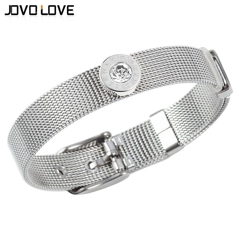 Pulseras ajustables de acero inoxidable 316L de alta calidad Número romano brazaletes de cristal de disco redondo diseño de correa Flexible