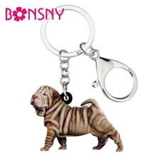 Bonsny Statement Acrylic Standing Shar Pei Dog Key Chains Keychain Rings Animal Jewelry For Women Girls Handbag Charms Gift Bulk