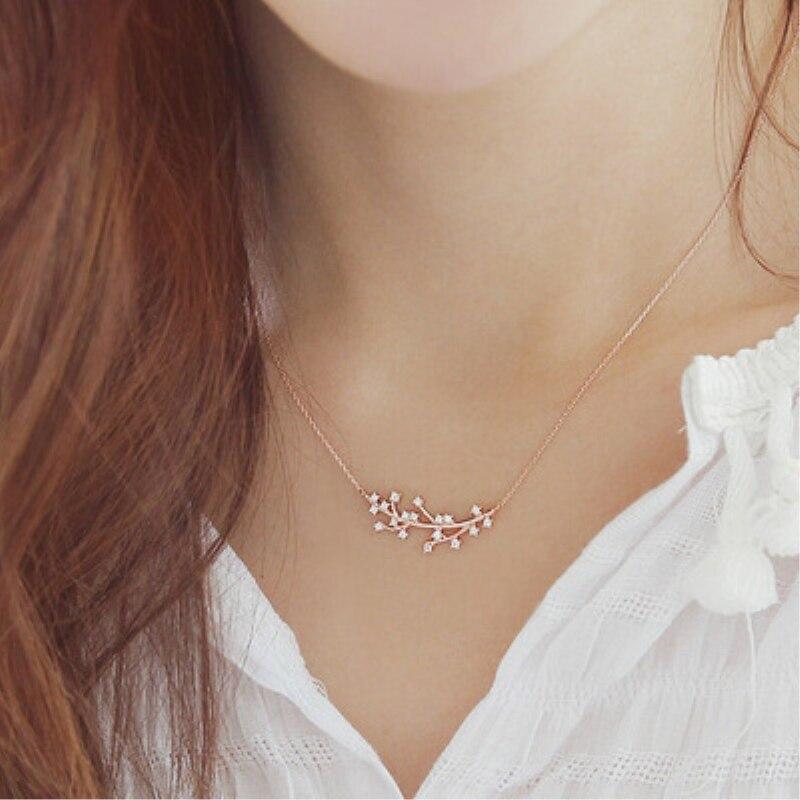 Temperamento peruca com strass coreano selvagem, prata esterlina 925 personalidade, moda feminina, joia colar sne021