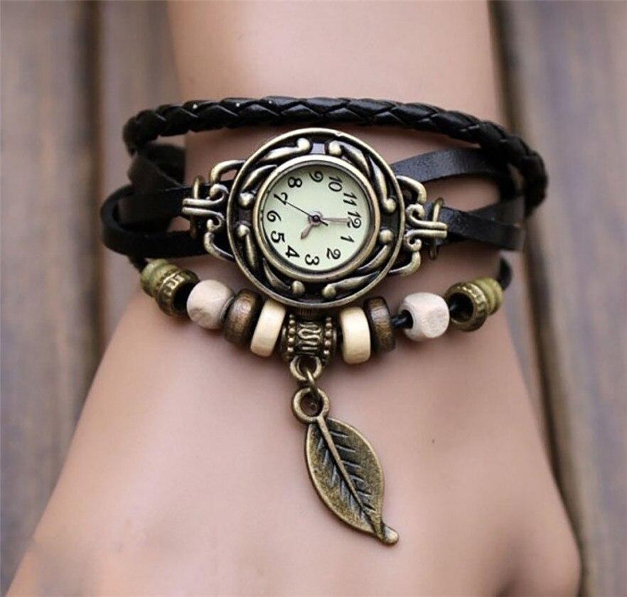 OTOKY Mode Leder Armband Uhr Frauen Casual Kleid Vintage Blatt Perlen Armbanduhr Luxus Quarz frauen Uhr A30