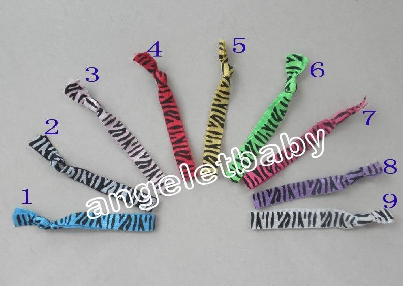 100 Uds estilo cebra doblar sobre lazos para el cabello brazalete elástico cinta de impresión brillante lazo para el cabello pulseras elásticas sostenedor de cola de caballo FD6514